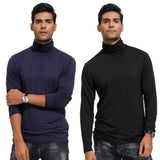 PJ Men's Turtleneck Rayon Tops Casual Slim Fit Solid Color Basic Long Sleeve