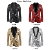 PJ Paul Jones Men's Sparkling Sequins Banquet Blazer Coat Peak Lapel One-Button Stylish