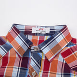 PJ Men's Stylish & Slim Fit Grid Pattern Short Sleeve Square Collar Shirt Tops