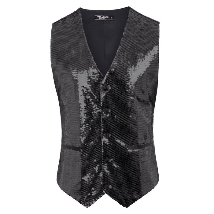 PJ Paul Jones Men's Sparkling Sequins Vest Coat Waistcoat V-Neck Handkerchief Stylish