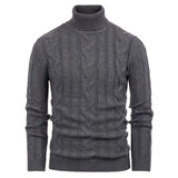 PJ Men's Turtleneck Knitted Sweater Long Sleeve Pullover Casual Twisted