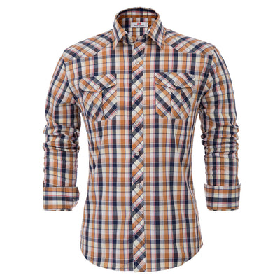 Shirt Tops Plaid Office Work Slim fit Chest pocket Summer Mens Spread collar