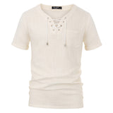Lace-Up Neck Rayon & Linen Shirt Tops Fashion Stylish Short Sleeve