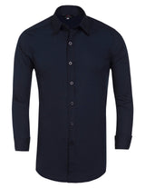 Mens Slim Fit Solid Long Sleeve Shirt Casual Tops Collared Front Buttons Tight