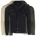 Mens Solid Color Hoodie Zip Up Hoodie Biker Coat Jacket Drawstring Outwear S-XL