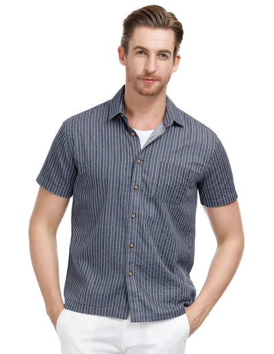 Men's Striped Short Sleeve Square Collar Jacquard Cotton Shirt Flat Hem Tops