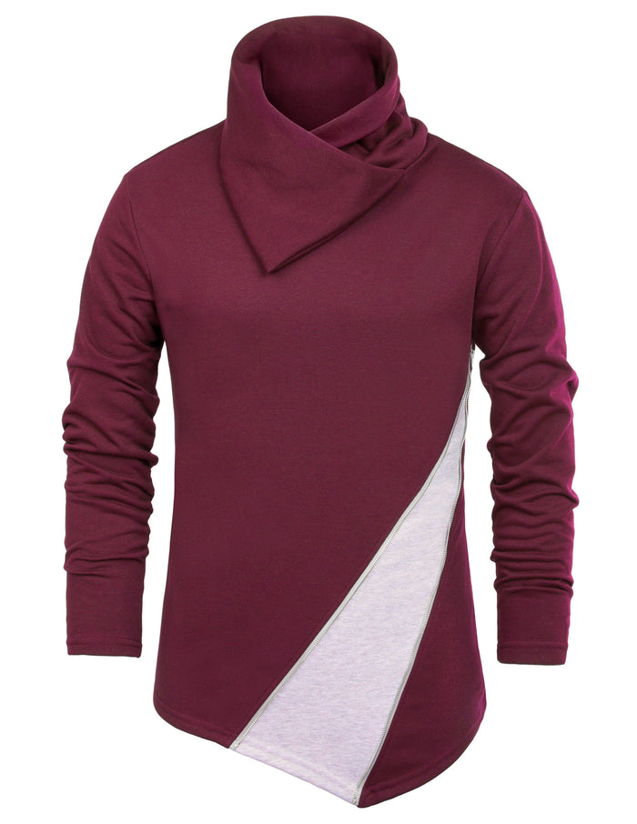 New Men's Male Slim Fit Oblique Zipper Turtleneck Pullover Hoodies Coat Tops