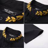 Stand Collar Shirt Tops Short Sleeve Embroidery Decorated Curved Hem