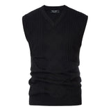 Sweater Vest Knitted Sleeveless Sweater V-Neck Cable Pattern