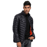 PJ Men's Stand Collar Padded Coat Lightweight Long Sleeve Contrast Color Lining