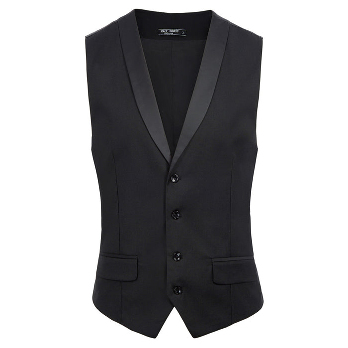 PJ Men's Stylish Single Breasted Waistcoat Vest Coat Shawl Collar Deep V-Neck