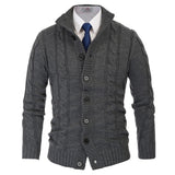 Paul Jones Men's Stylish Long Sleeve Stand Collar Button Placket Cardigan Knitting Coat