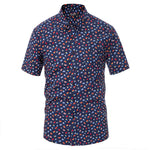 Men's Flags Pattern Shirt Tops Cotton Short Sleeve Button-Down