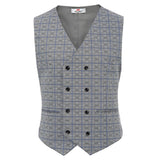 Men Stylish Grid Pattern V-Neck Double-Breasted Waistcoat Formal Suit Vest