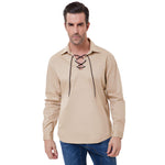 Mens Pirate Renaissance Adult Shirt Lace up Scottish Jacobite Ghillie Tops