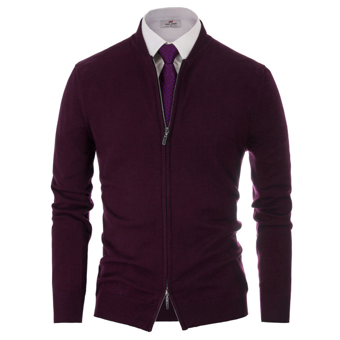 PJ Men Slim Fit Stand Collar Zip Up Knitted Casual Business Baseball Coat Jacket