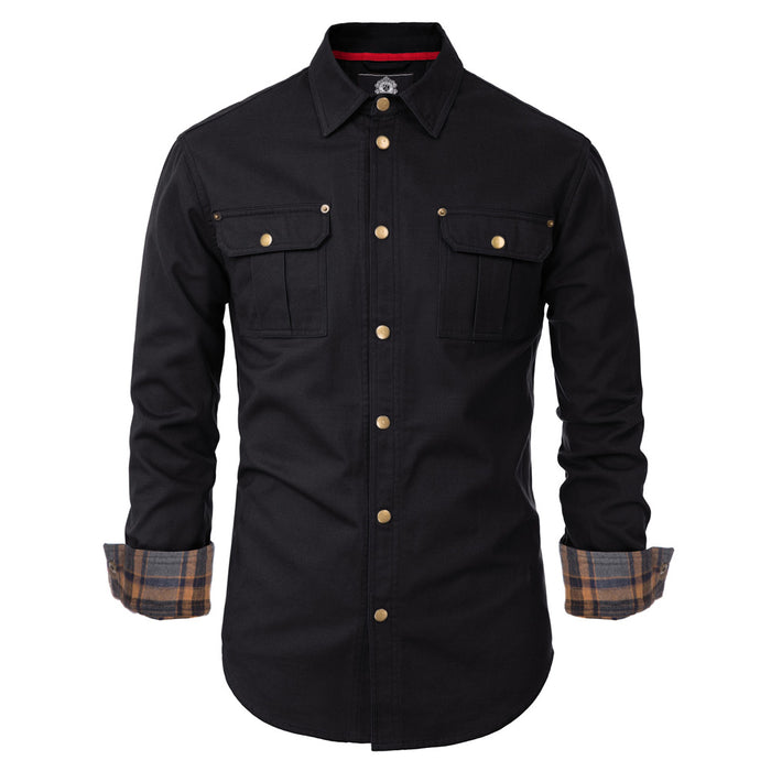 PJ Men's Snap Buttons Work Shirts Tops Cotton Long Sleeve Square Collar