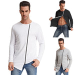 Pj Men Casual Long Sleeve Crew Neck Metal Zipper Irregular Hem T-shirt 3colours