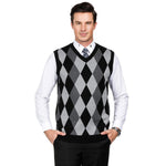 V-Neck Diamond Checks Knit Ugly Sweater Utility Vest