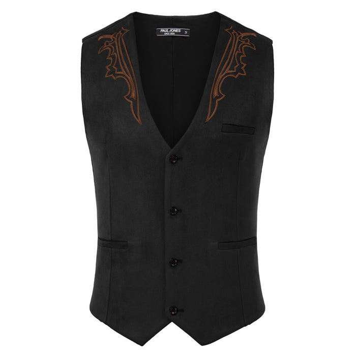 Embroidery Decorated Vest Waistcoat Sleeveless V-Neck Handkerchief Hem