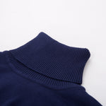 Classic Knit Slim-Fit Turtleneck Black & White Sweater