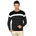 Men's Stylish Long Sleeve Crew Neck Striped Knitwear Pullover Knit Sweater