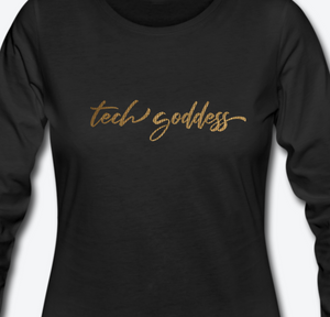 tech goddess® Metallic Women's Premium Long Sleeve T-Shirt (MULTIPLE COLORS)
