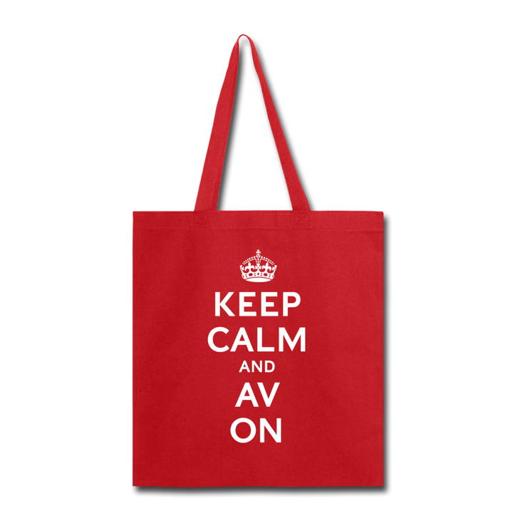 Keep Calm And AV On Tote Bag - red