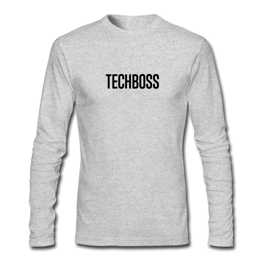 TECHBOSS® Black Badge Men's Long Sleeve T-Shirt (LIMITED EDITION) - heather gray