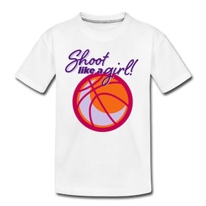 Shoot Like A Girl Youth Basketball Kids' Premium T-Shirt - white