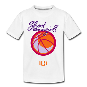 Utah Hoops Shoot Like A Girl Kids' Premium T-Shirt - white