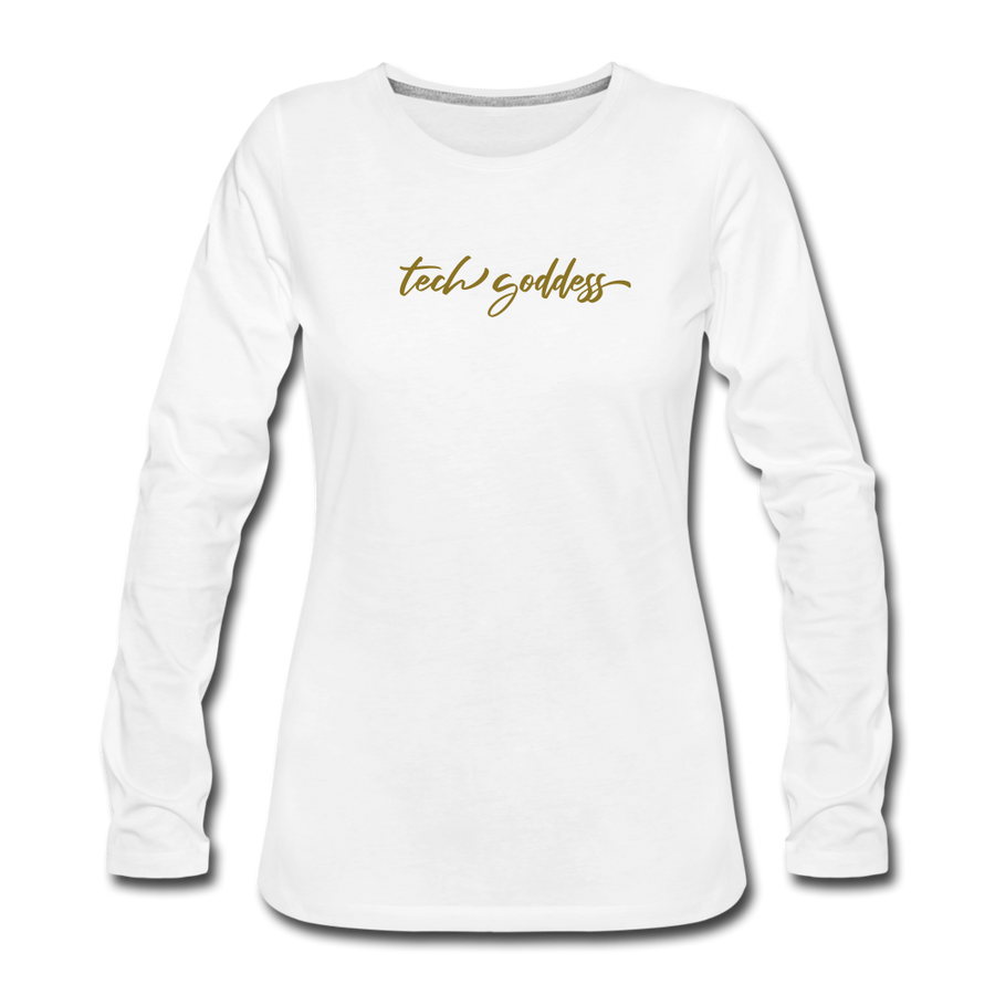 tech goddess® Women's Premium Long Sleeve T-Shirt (MULTIPLE COLORS) - white