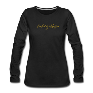 tech goddess® Women's Premium Long Sleeve T-Shirt (MULTIPLE COLORS) - black