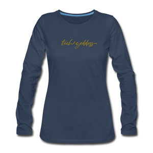 tech goddess® Women's Premium Long Sleeve T-Shirt (MULTIPLE COLORS) - navy