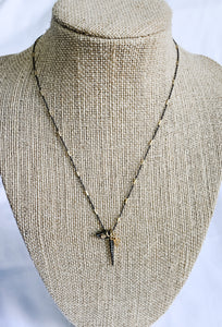 Gold and Hematite 3 Pendant Necklace