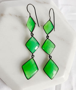 Hematite and Green Chalcedony Earrings
