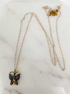 Black and Gold Butterfly Necklace