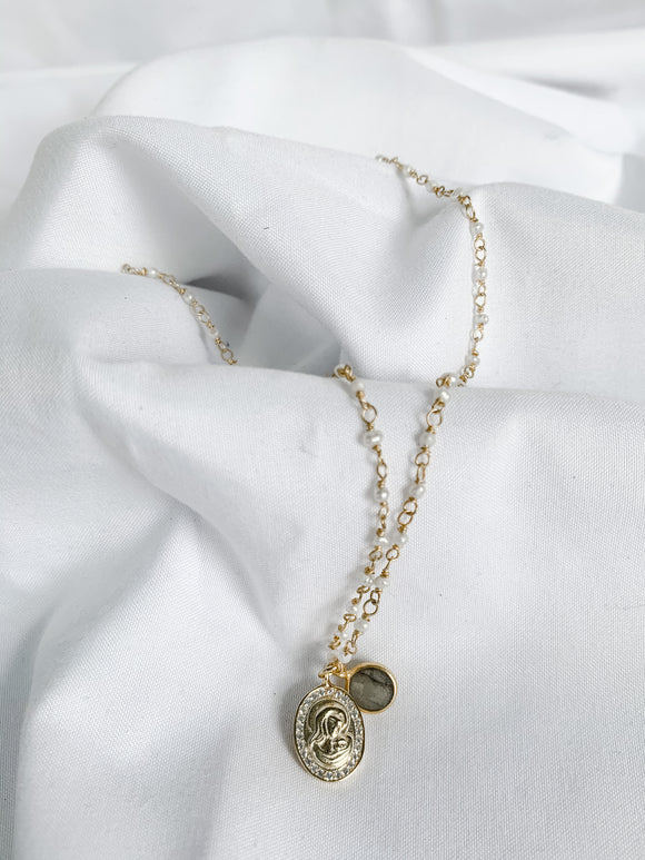 Mother Mary Pendant Necklace with Pearls