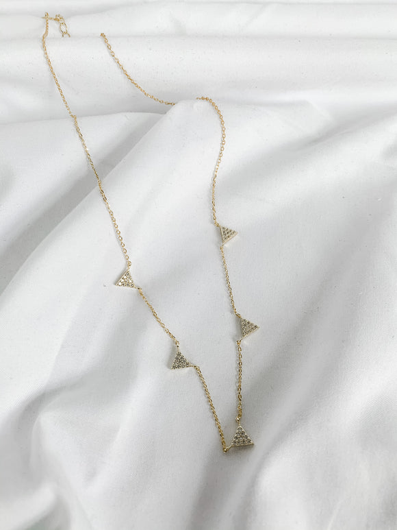 White Topaz Geometric Necklace