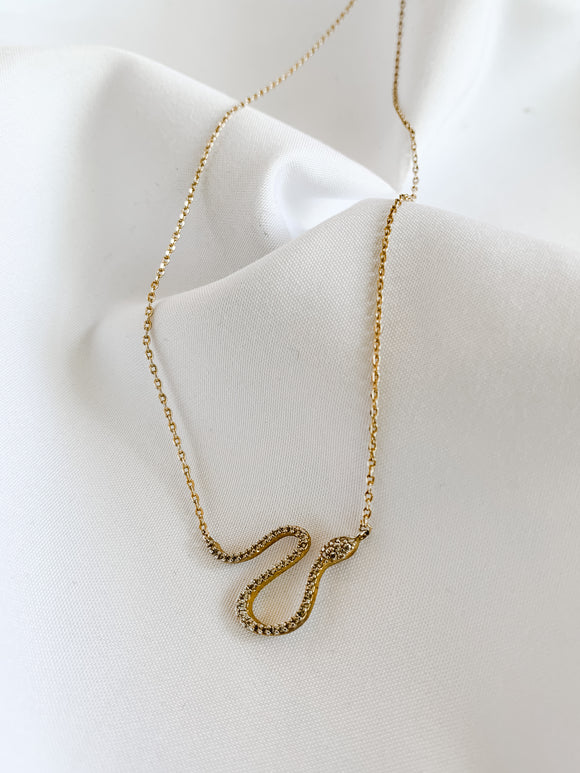 White Topaz Snake Necklace
