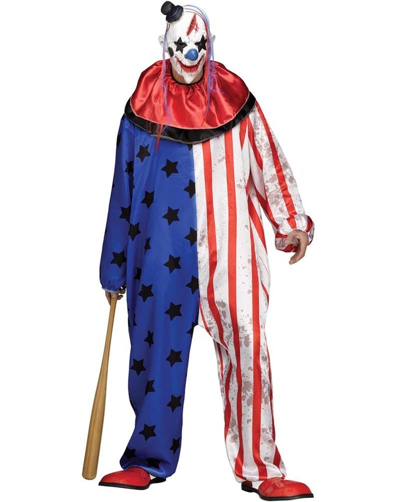 Bright Evil Clown Collared Mens Costume