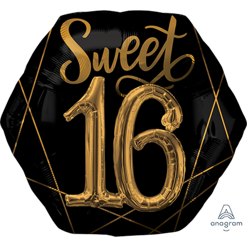 Black Sweet 16 with Gold Detailing