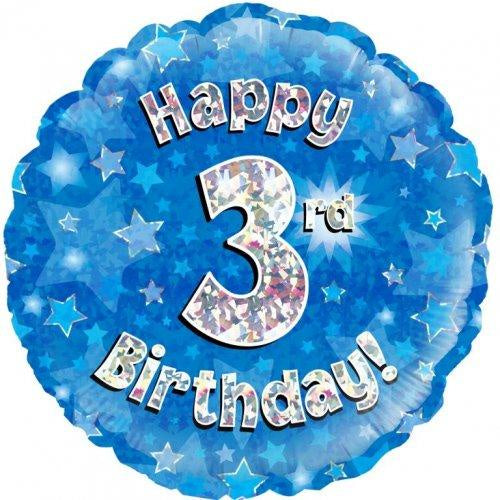 3rd Birthday Blue Holographic 18 Inch Foil Balloon