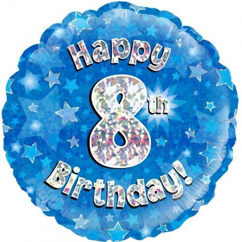 8th Birthday Blue Holographic 18 Inch Foil Balloon