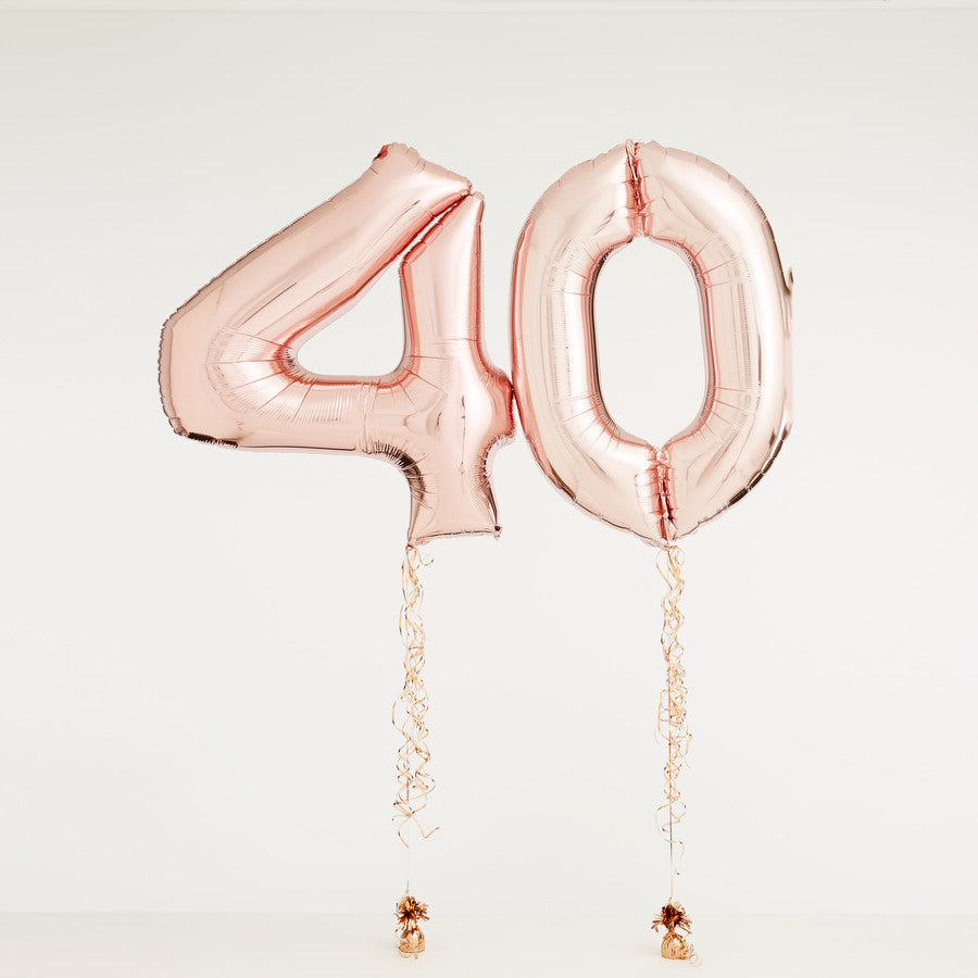 Rose Gold Numbered Balloon Bouquet