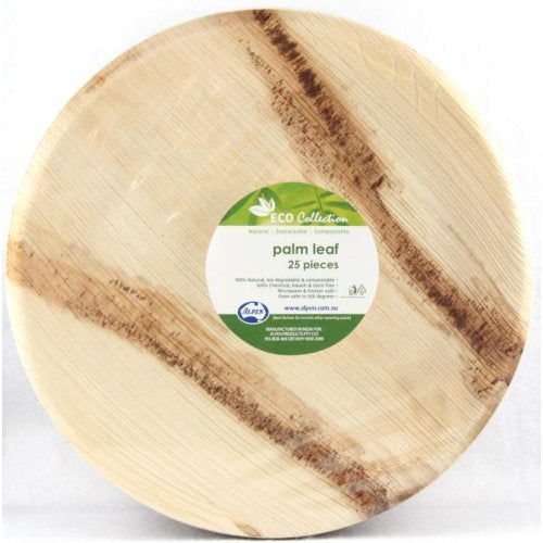Eco Friendly Palm Leaf Large 10 Inch Round Plates Pk 25