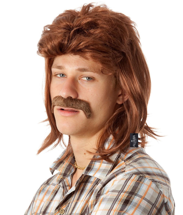 80's Classic Mullet and Mo Set - Brown 80's Style Mullet with Moustache