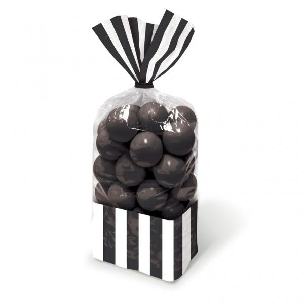Black Stripe and Clear Favour Bags