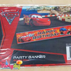 Cars Happy Birthday Banner Party Town