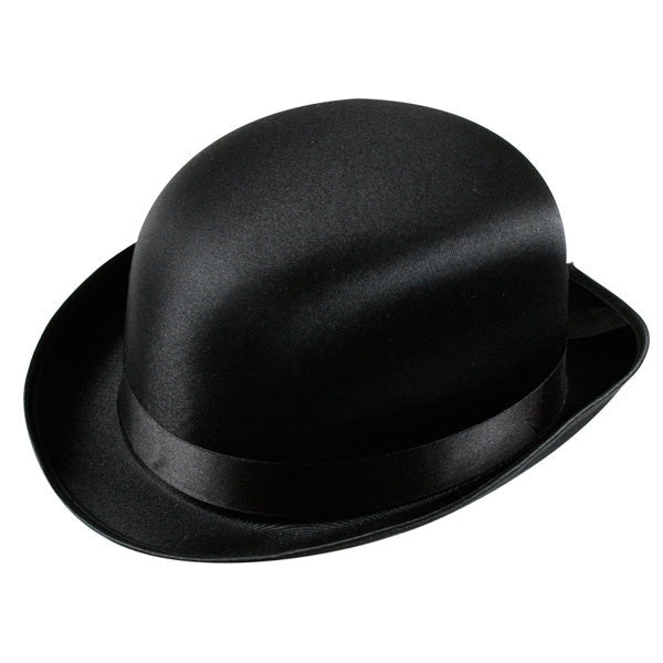 Bowler Hat Black Satin